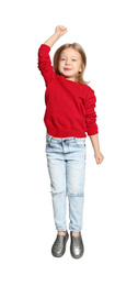 Cute little girl jumping on light grey background