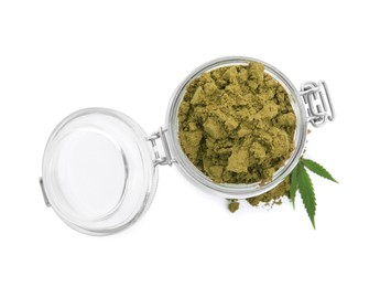 Jar with hemp protein powder and green leaf on white background, top view