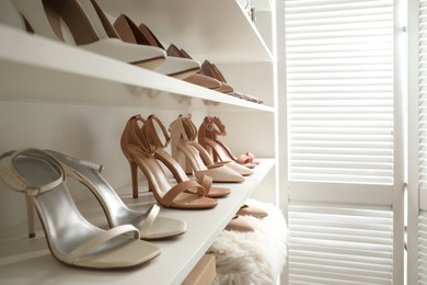 Different stylish women's shoes on shelving unit in dressing room
