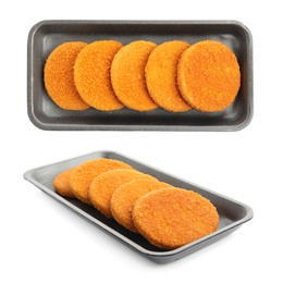 Uncooked breaded cutlets on white background, collage