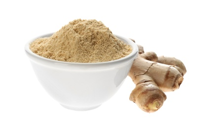 Dry ginger powder in bowl and fresh root isolated on white