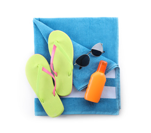 Composition with beach objects on white background, top view