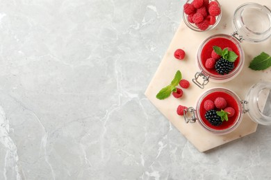 Delicious panna cotta with fruit coulis and fresh berries on light grey table, top view. Space for text