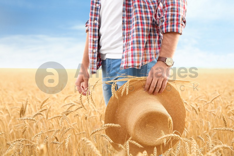 Young agronomist with straw hat in grain field. Cereal farming