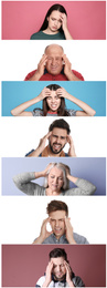 Collage with stressed people on different color backgrounds
