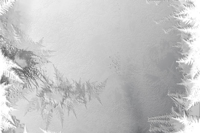 Beautiful frost pattern, illustration. Winter cold weather