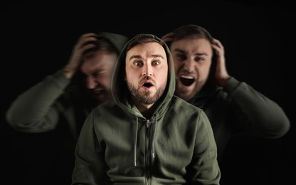 Man with personality disorder on dark background, multiple exposure