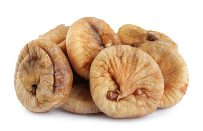 Pile of tasty dried figs isolated on white