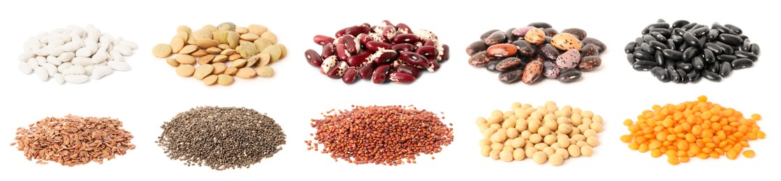 Set with different legumes, grains and seeds on white background, banner design. Vegan diet
