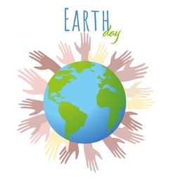 Happy Earth Day. Planet surrounded by hands on white background, illustration