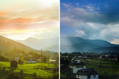 Photo before and after retouch, collage. Picturesque view of village and forest on mountain slopes