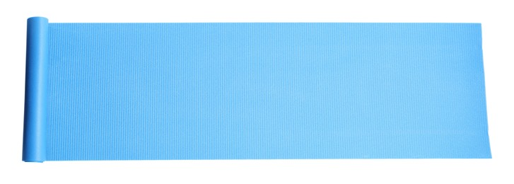 Light blue camping mat isolated on white, top view. Banner design