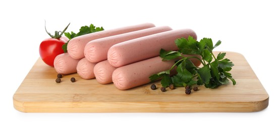 Fresh raw vegetarian sausages, tomato and parsley on white background