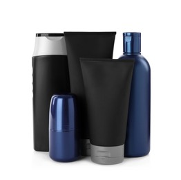 Set of men's cosmetic products on white background
