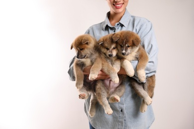 Woman holding Akita Inu puppies on light background, closeup. Space for text