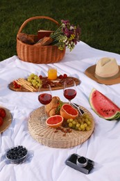 Delicious food and wine served for summer picnic on plaid outdoors