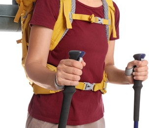 Female hiker with backpack and trekking poles on white background, closeup