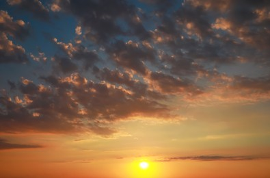Picturesque view of beautiful sky with clouds at sunset