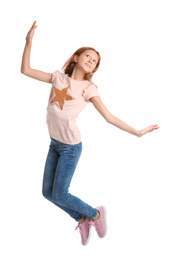 Full length portrait of preteen girl jumping on white background