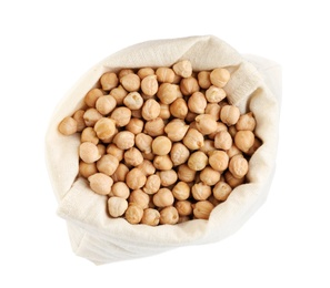 Chickpeas in sack on white background, top view. Natural food