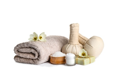 Spa composition with skin care products on white background