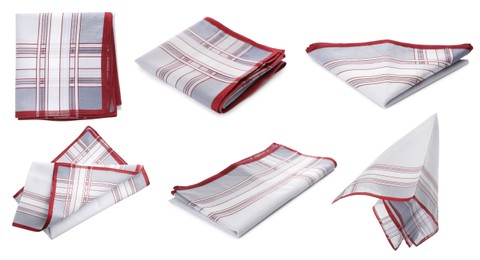 Set with handkerchiefs on white background