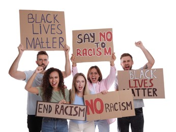 Protesters demonstrating different anti racism slogans on white background. People holding signs with phrases
