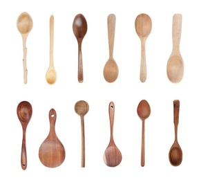 Wooden spoons on white background, collage. Cooking utensil