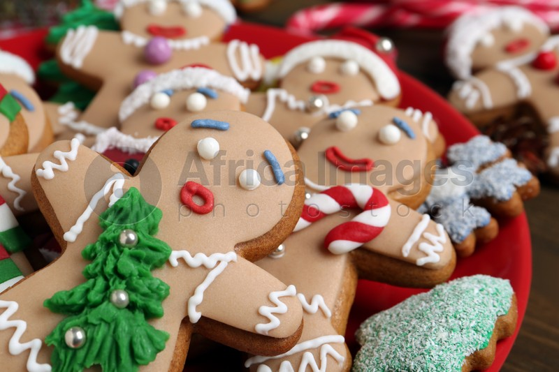 Delicious Christmas cookies on table, closeup view