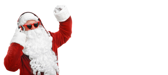 Santa Claus listening to music with headphones on white background. Banner design