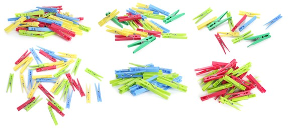 Set with bright plastic clothespins on white background. Banner design
