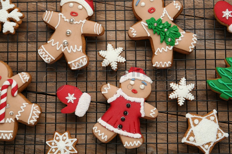 Delicious Christmas cookies on wooden table, top view
