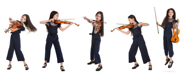 Collage with photos of preteen girl playing violin on white background, banner design