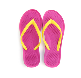 Stylish pink flip flops isolated on white, top view