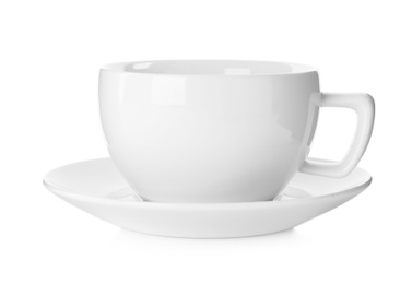 Empty cup with saucer isolated on white