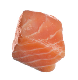 Piece of fresh raw salmon isolated on white. Fish delicacy