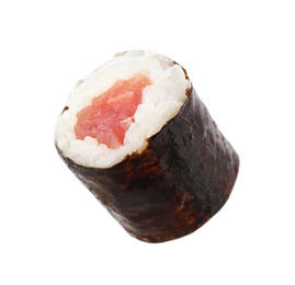 Sushi roll with tuna isolated on white