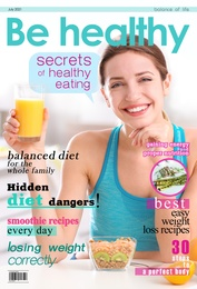 Be Healthy magazine cover design. Young slim woman having healthy breakfast