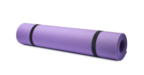 Rolled violet camping mat isolated on white