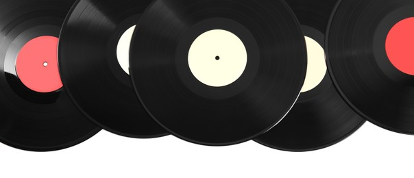 Vintage vinyl records on white background, top view