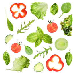 Set of different vegetables and herbs on white background, top view. Fresh ingredients for salad