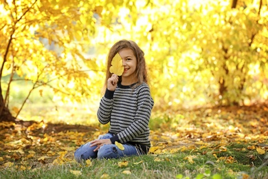 Cute little girl with leaf in park. Autumn walk