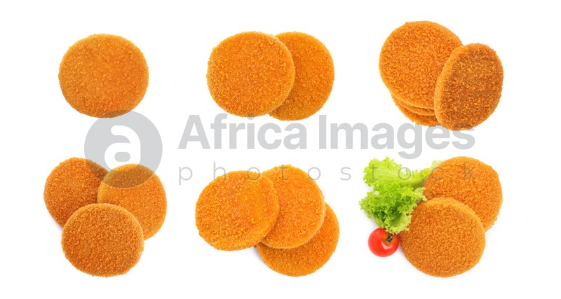 Set with tasty breaded cutlets on white background, top view