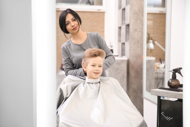 Professional female hairdresser working with little boy in salon