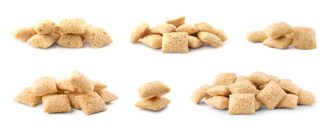 Set with sweet crispy corn pads on white background. Banner design