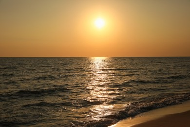 Picturesque view of beautiful beach at sunset