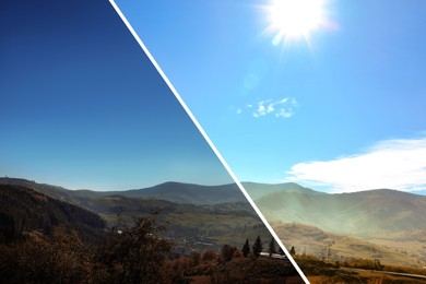 Photo before and after retouch, collage. Picturesque landscape with beautiful sky over mountains