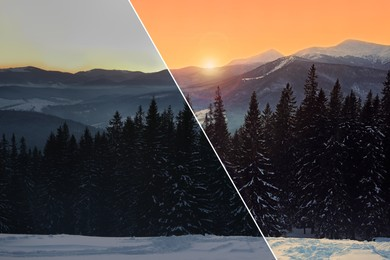 Photo before and after retouch, collage. Beautiful mountain landscape with forest on snowy hill in winter