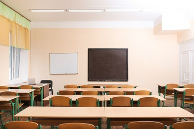 View of empty modern classroom at school