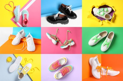 Stylish shoes with bright laces on different color backgrounds, collage